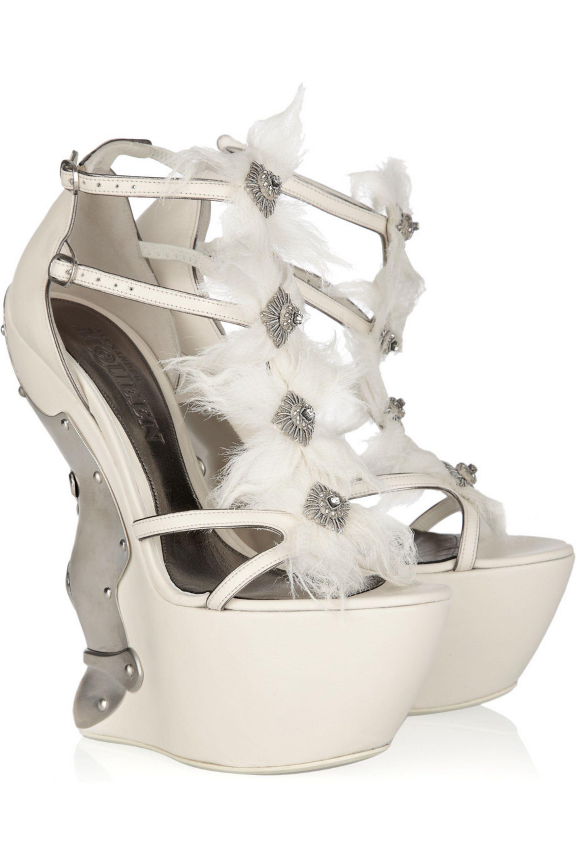 Alexander McQueen Metal-plated leather platform sandals