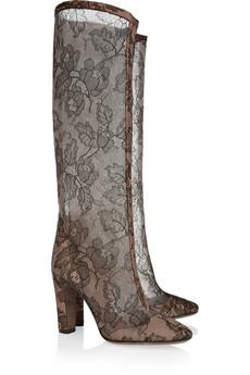 Valentino|Lace-appliquéd mesh knee boots|NET-A-PORTER.COM from net-a-porter.com