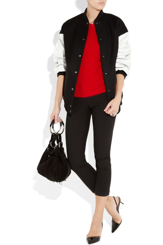 Stella McCartney Oversized wool-twill baseball jacket