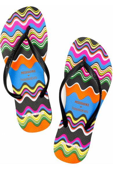 cfd7a8b0c4f470 Slim wave-print rubber flip-flops