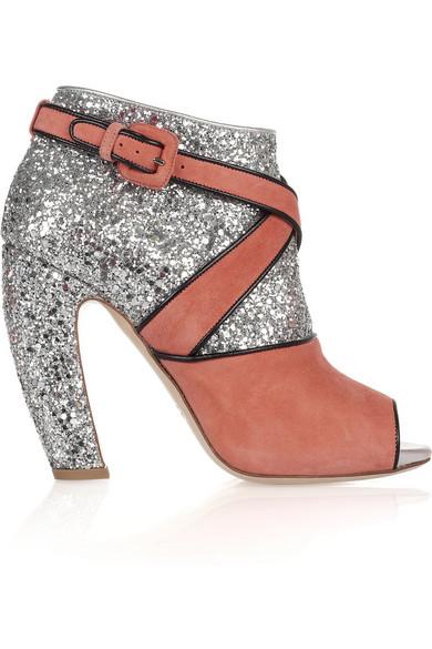 11c1ea478c1e Miu Miu. Glitter and suede peep-toe ankle boots