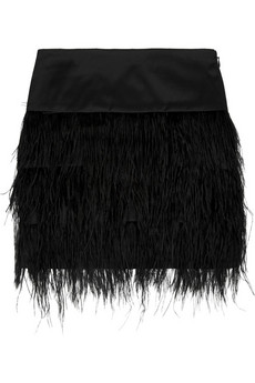 By Malene Birger | Alexandrie ostrich feather-trimmed mini skirt | NET-A-PORTER.COM