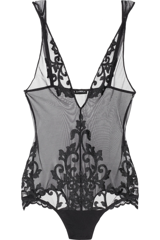 La Perla Vintage embroidered mesh bodysuit