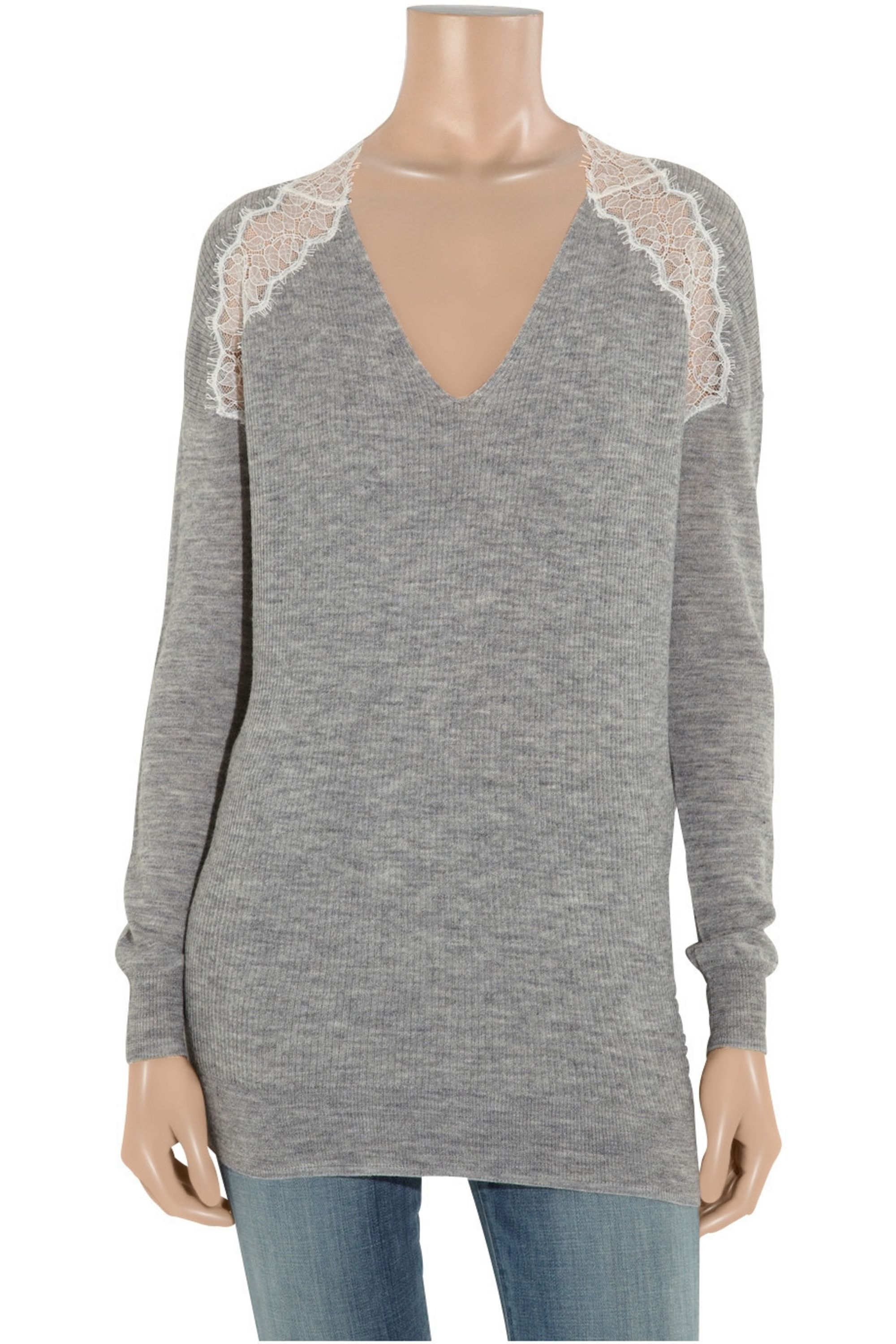 Rebecca Taylor Lace-trimmed knitted sweater
