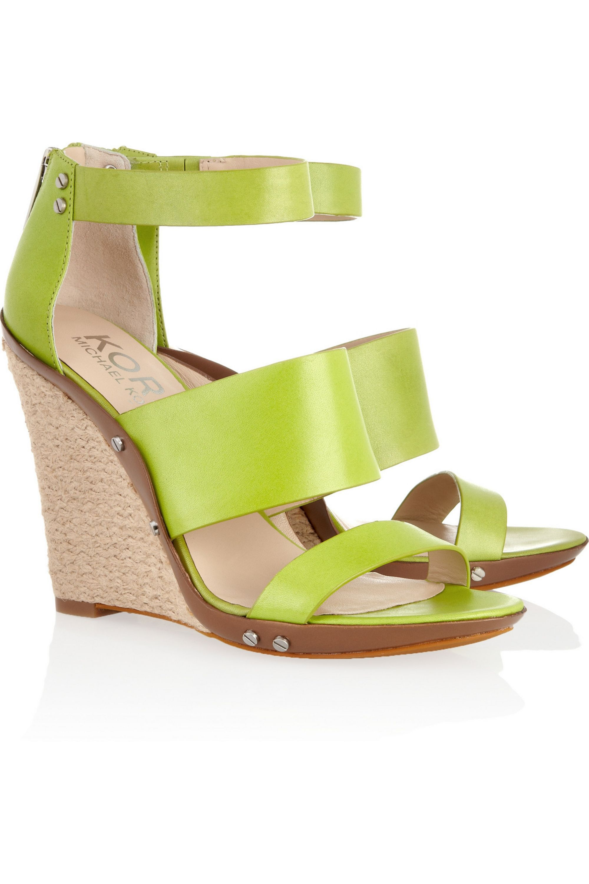 Lime green Eliza leather wedge sandals