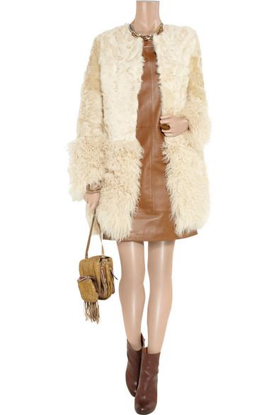 Maje | Collarless shearling coat | NET-A-PORTER.COM