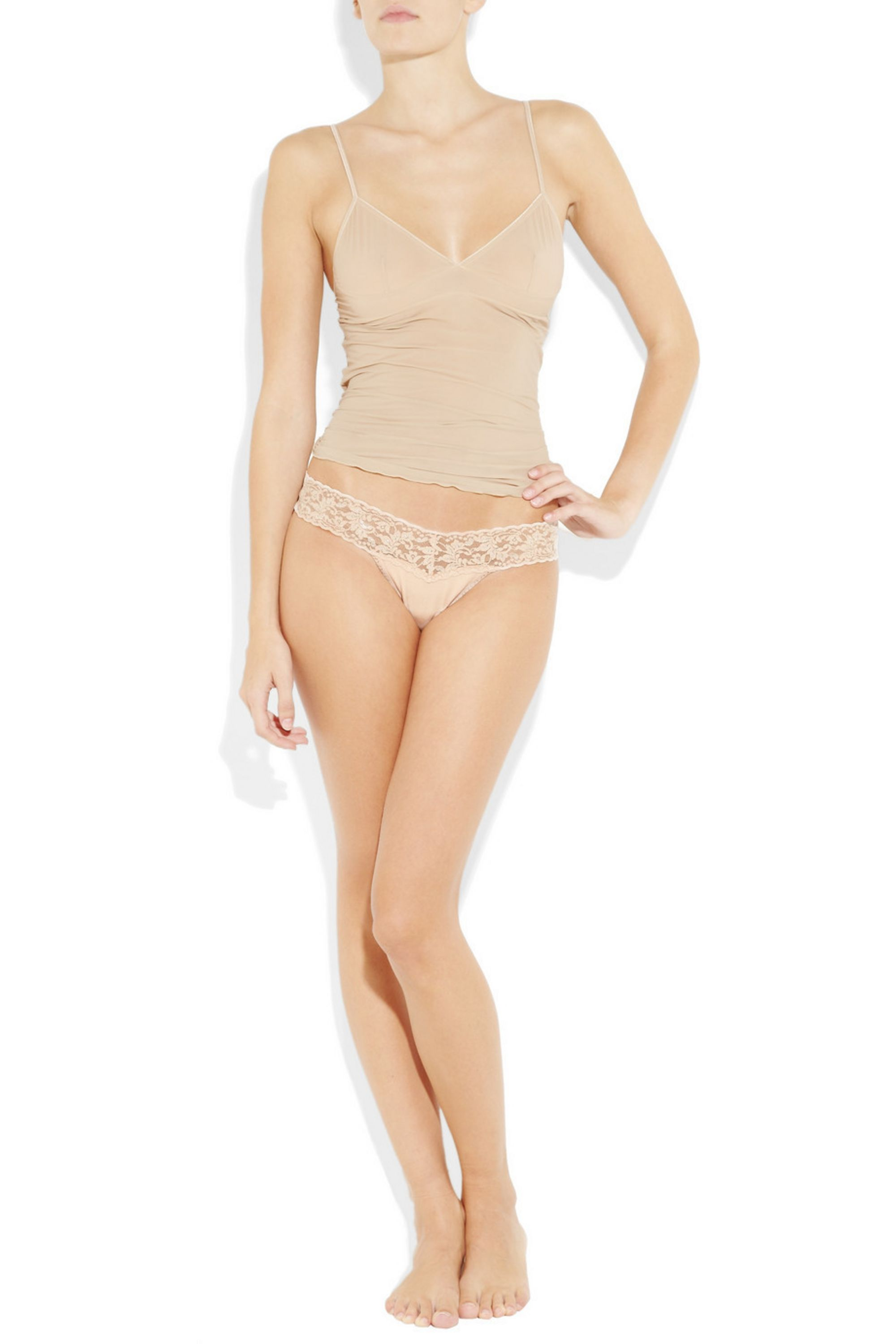 Hanky Panky Set of three stretch-lace and cotton thongs