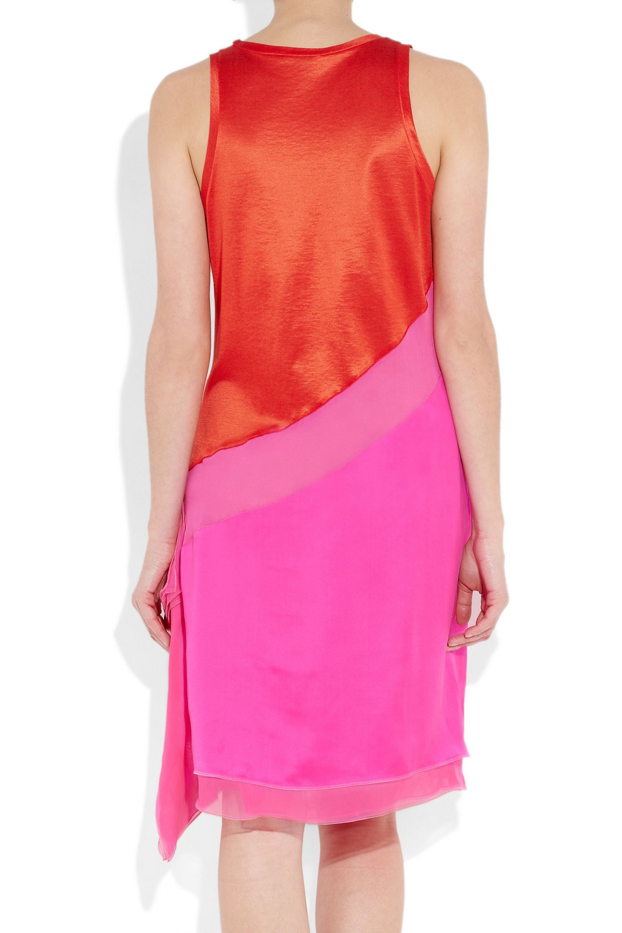 Bottega Veneta Color-block satin-jersey and silk dress