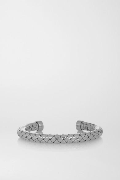 leather storm bracelet intrecciato bottega oxidised and veneta silver blue shop shopping special summer