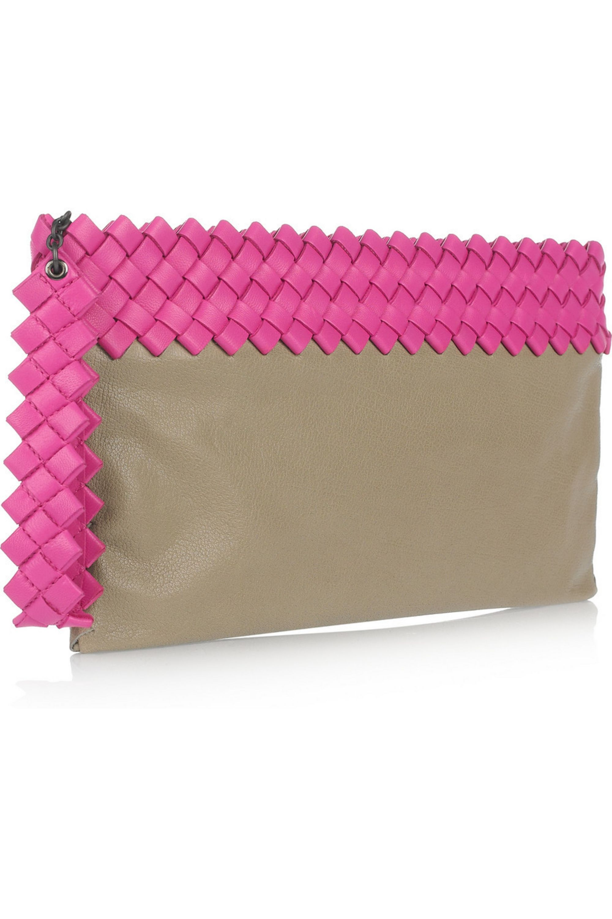 Bottega Veneta Intrecciato-trimmed two-tone leather clutch