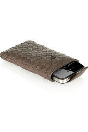 Intrecciato leather iPhone sleeve