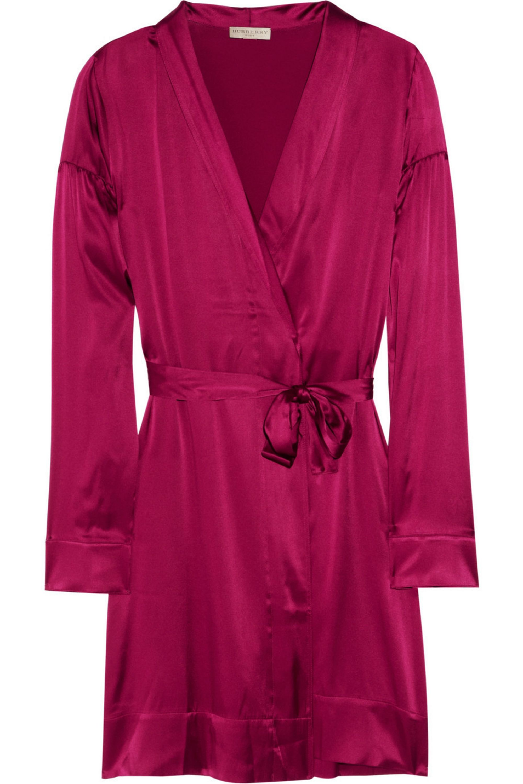 Fuchsia Stretch Silk Satin Robe Burberry Net A Porter