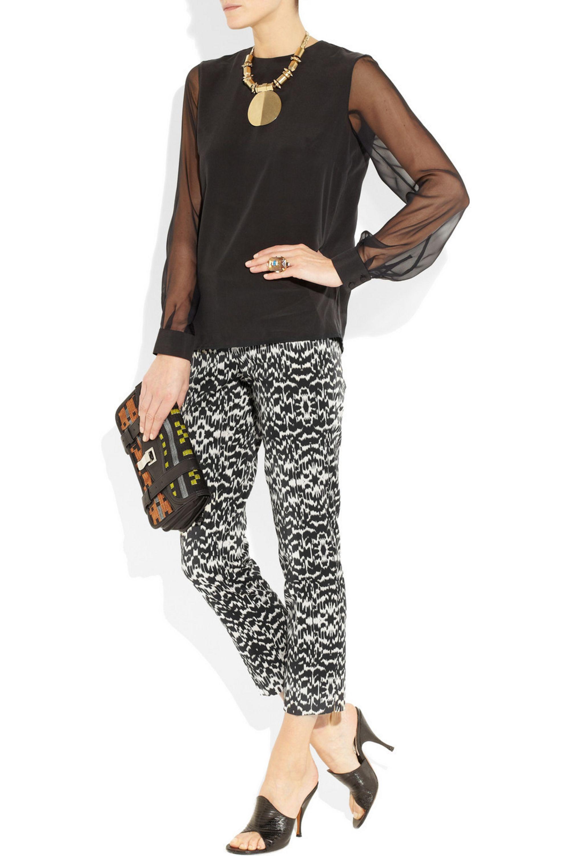 Etro Ikat-print twill cropped pants
