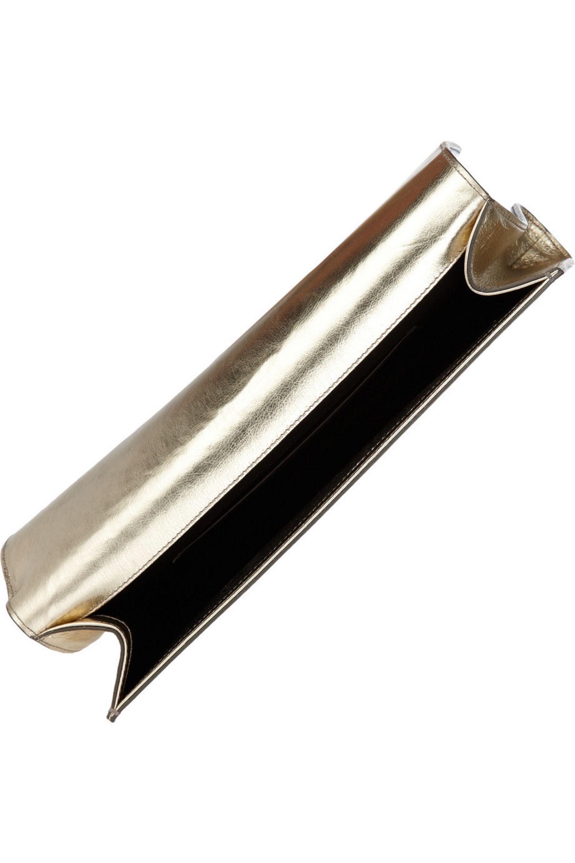 Yves Saint Laurent Belle Du Jour metallic leather clutch