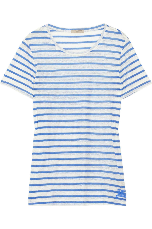 Burberry Striped linen-blend T-shirt
