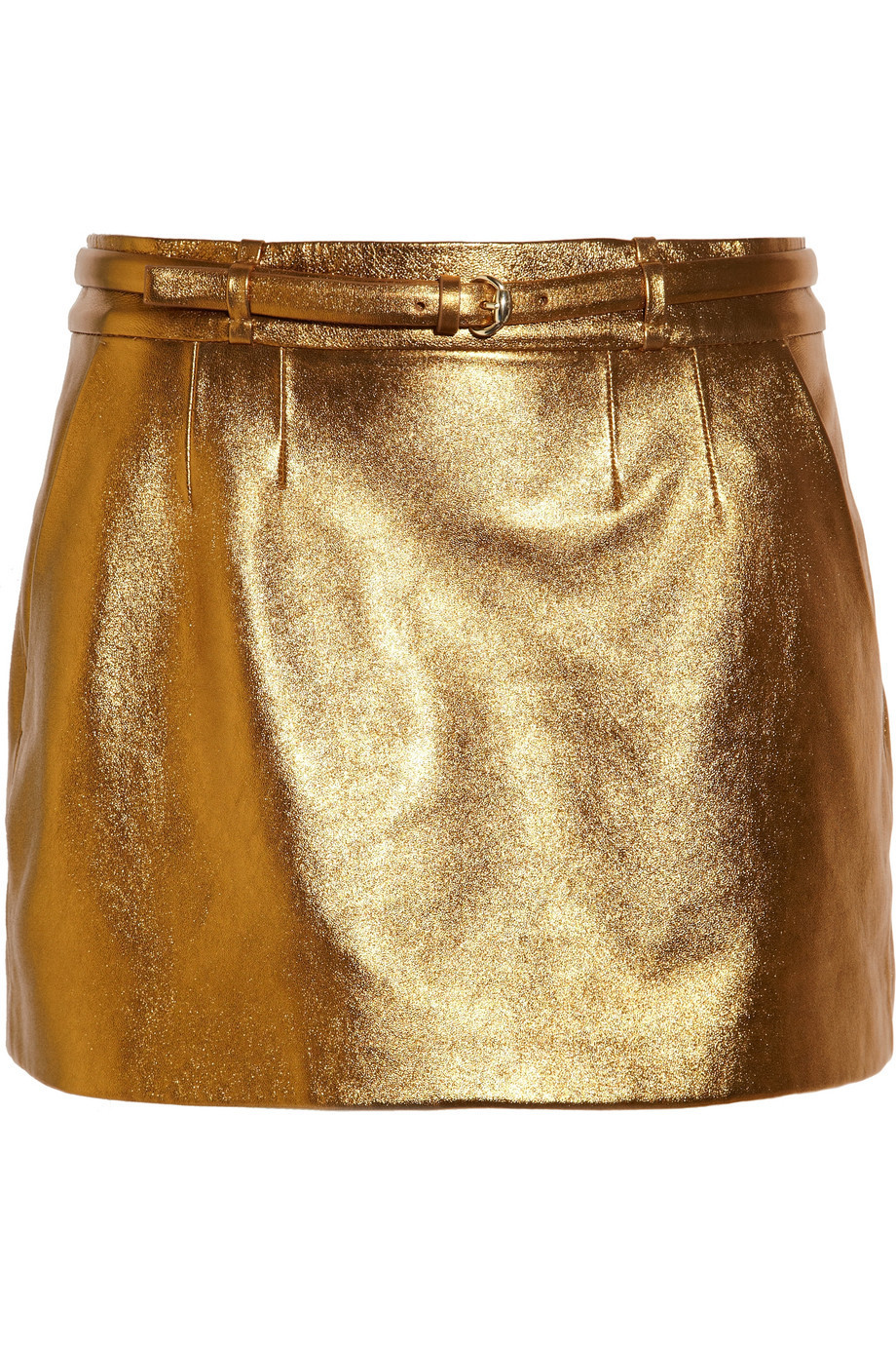 Gucci Metallic Leather Mini Skirt, Size: 46