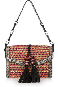 Jimmy Choo | Laura elaphe-trimmed woven cord shoulder bag | NET-A-PORTER.COM