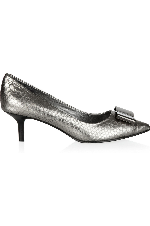 DKNY Metallic snake-effect leather pumps