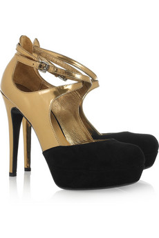 DKNY | Quinn metallic patent-leather and suede pumps  | NET-A-PORTER.COM