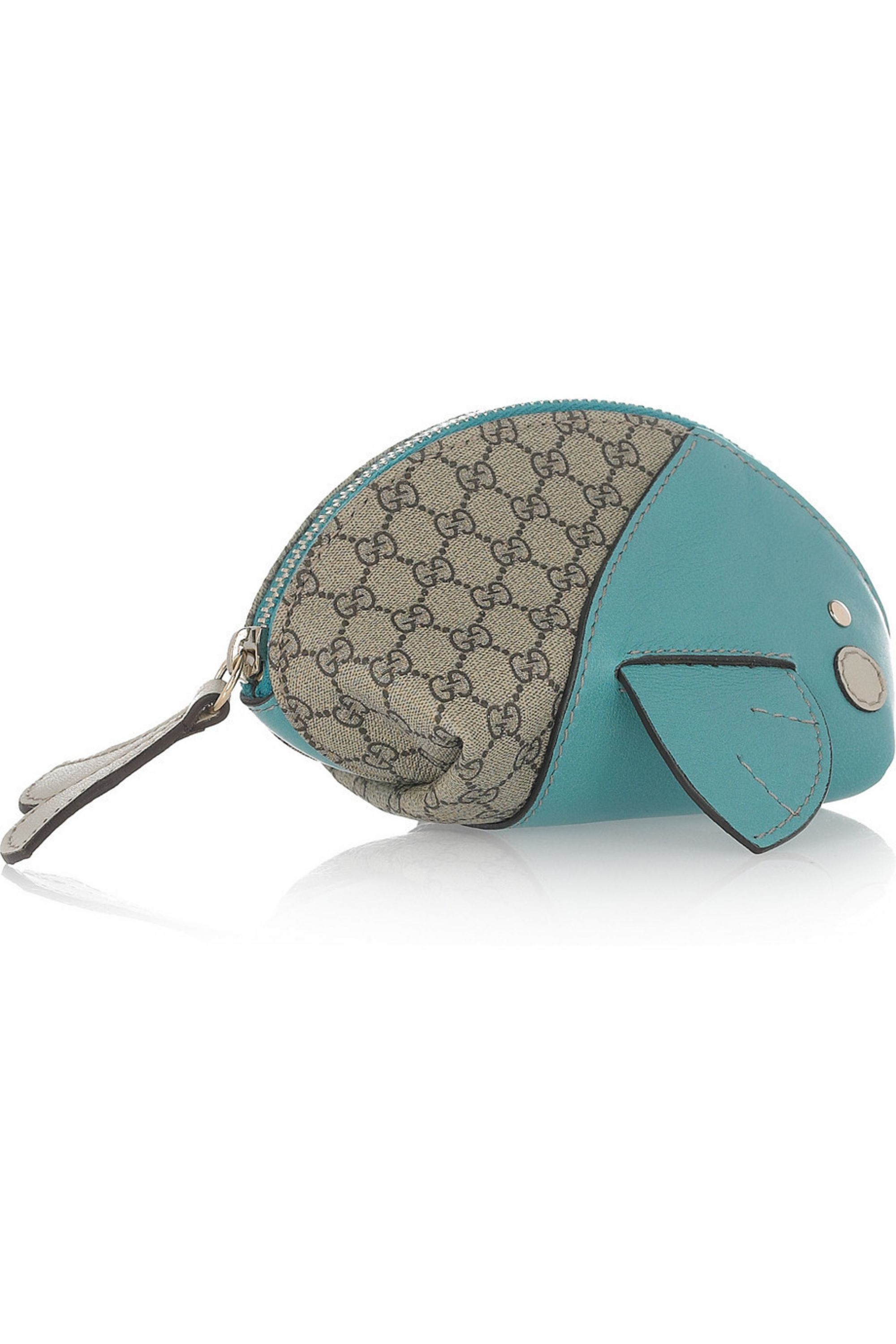 Gucci Moby Dick leather and canvas coin purse