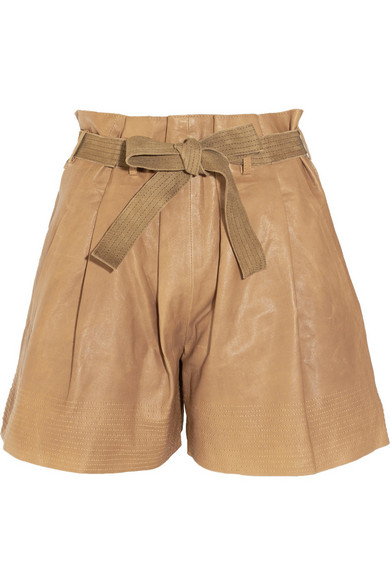 fd795377 High-waisted leather shorts