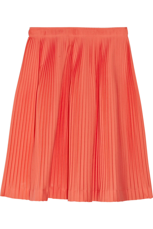 Jil Sander Liquirizia pleated stretch cotton-poplin skirt