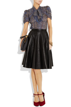 Anna Sui Metallic silk-blend georgette blouse