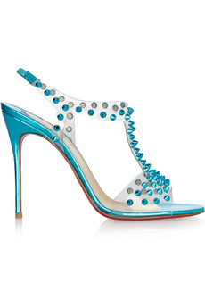 Christian Louboutin | J-Lissimo 100 spiked metallic leather sandals | NET-A-PORTER.COM