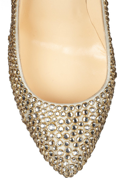 christian louboutin daffodile 160 crystal embellished suede pumps