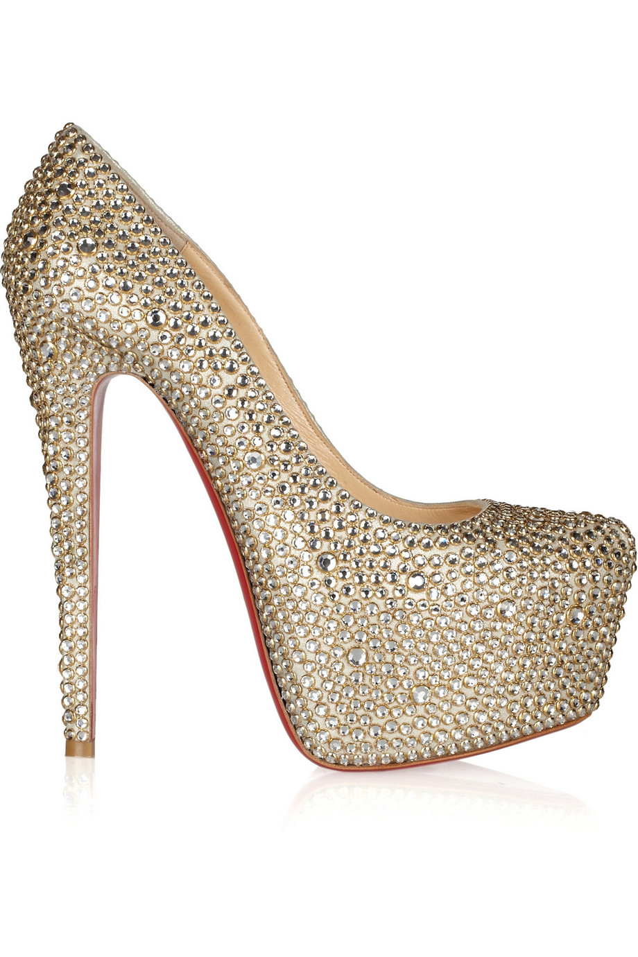Christian Louboutin Daffodile 160 Crystal-Embellished Suede Pumps, Gold, Women's US Size: 5, Size: 35.5