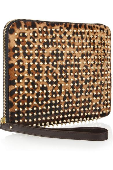 46b403017b4 Cris studded leopard-print calf hair iPad case