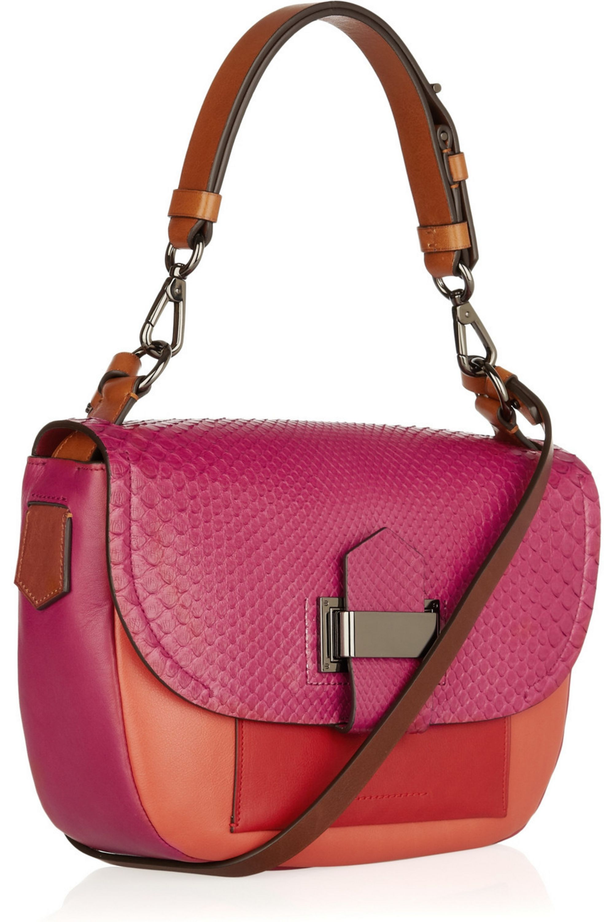 Reed Krakoff Kit leather and python shoulder bag
