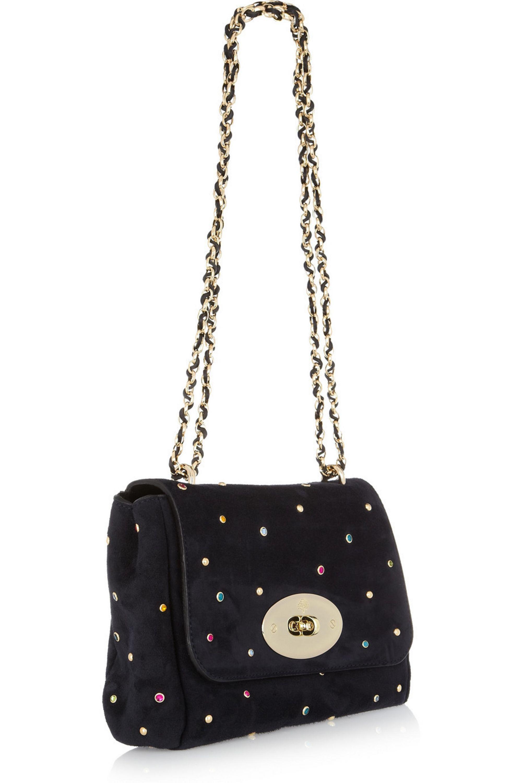Mulberry Lily With Gems embellished suede shoulder bag