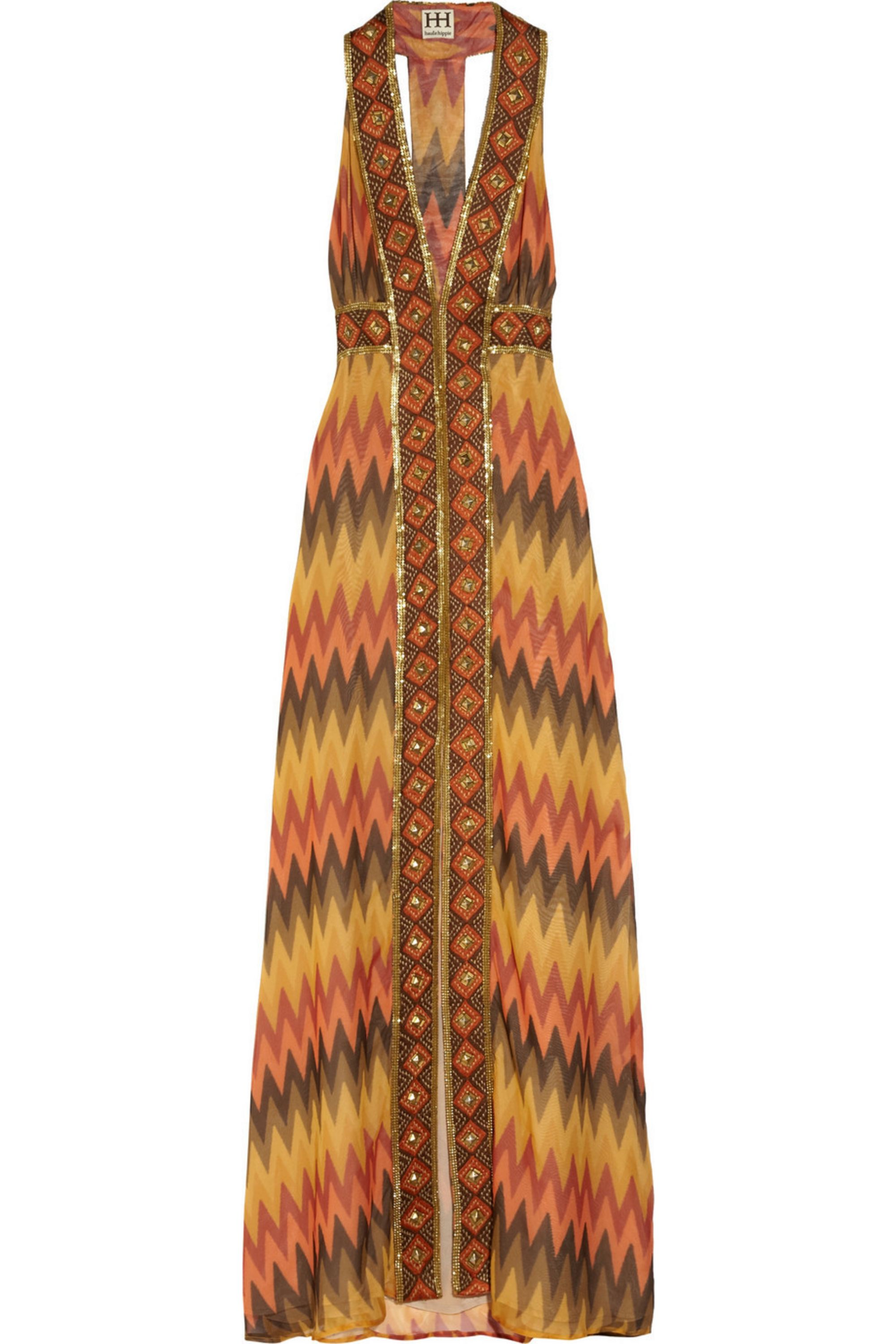 Haute Hippie Embellished silk-crepe maxi dress