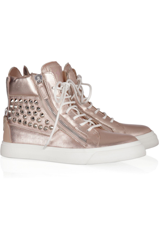 Giuseppe Zanotti Studded metallic leather sneakers