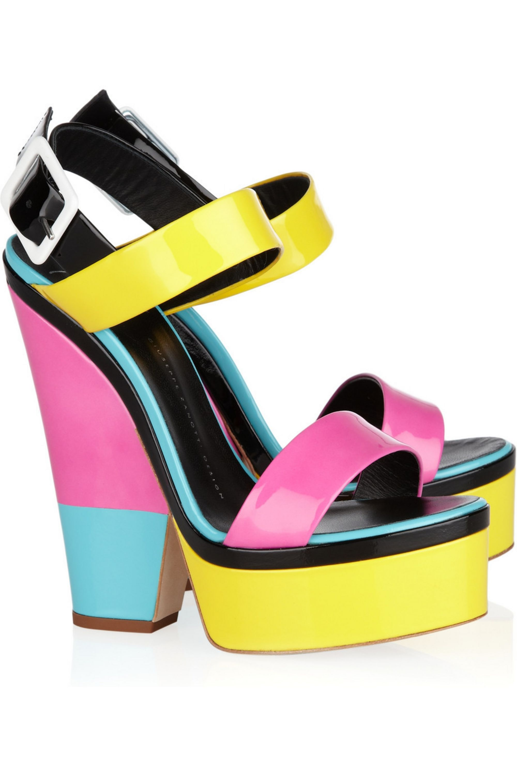 Giuseppe Zanotti Color-block patent-leather platform sandals