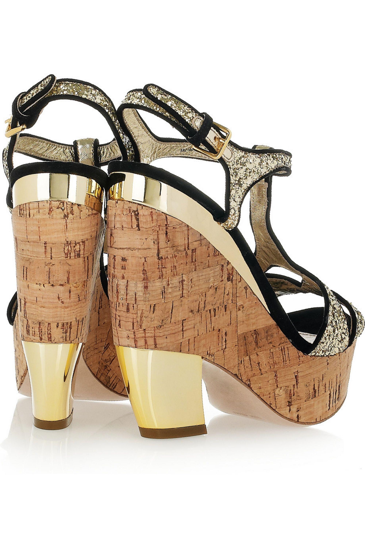 Miu Miu Glitter-finish suede wedge sandals