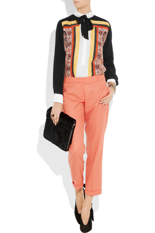 Sandro Express printed silk and crepe blouse