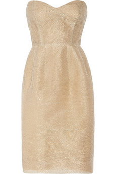 Oscar de la Renta | Tulle and gold threaded strapless dress | NET-A-PORTER.COM