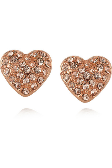 Marc By Jacobs Heart Br And Crystal Stud Earrings