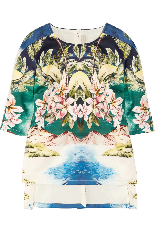 Stella McCartney Hawaiian-print cotton-sateen top