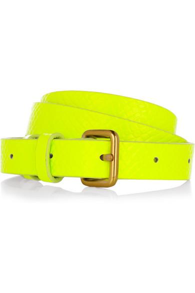 Python-effect neon leather waist belt