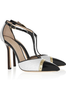 Emilio Pucci | Raffia and patent-leather T-bar pumps | NET-A-PORTER.COM