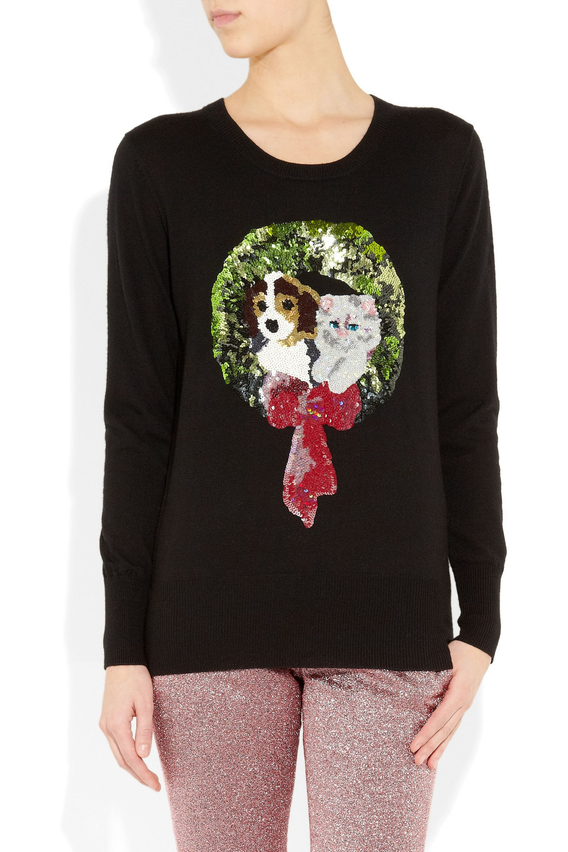 Markus Lupfer Wreath sequined merino wool sweater
