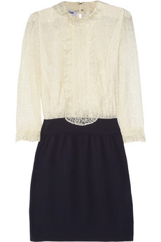 Moschino | Lace and silk-crepe dress | NET-A-PORTER.COM