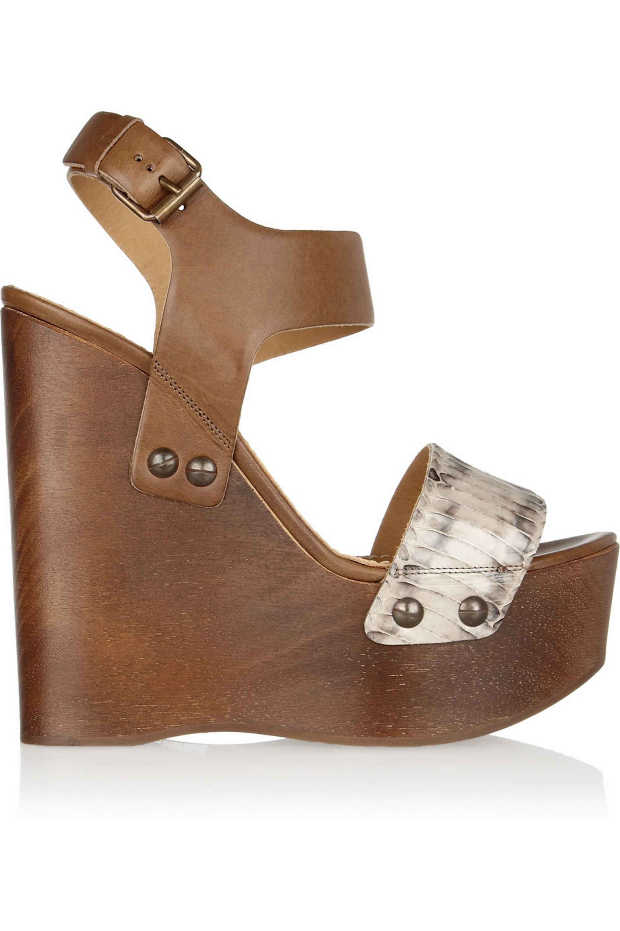 Lanvin Watersnake and leather wooden wedge sandals