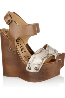 Lanvin | Watersnake and leather wooden wedge sandals | NET-A-PORTER.COM from net-a-porter.com