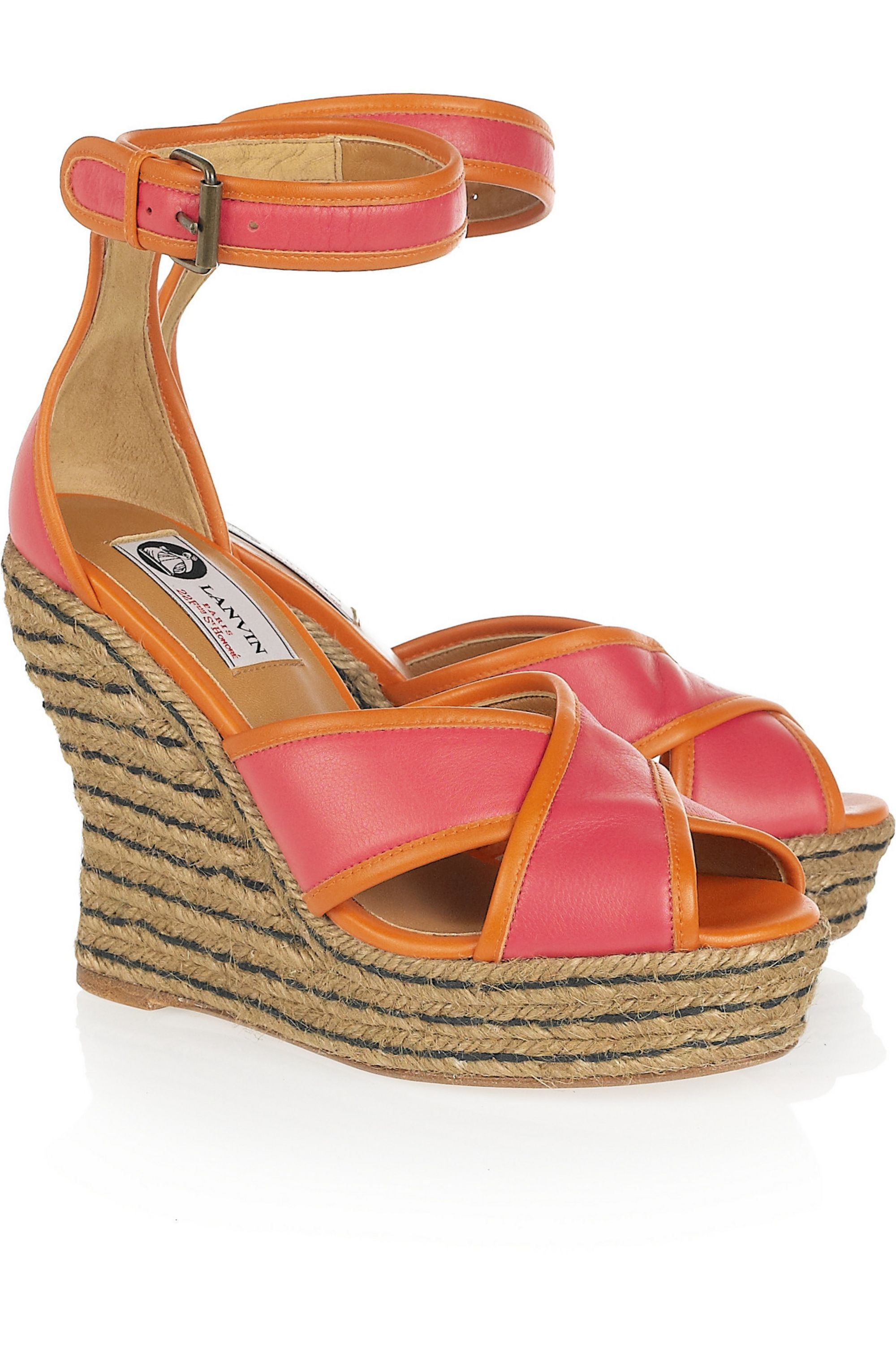 Lanvin Two-tone leather espadrille wedge sandals