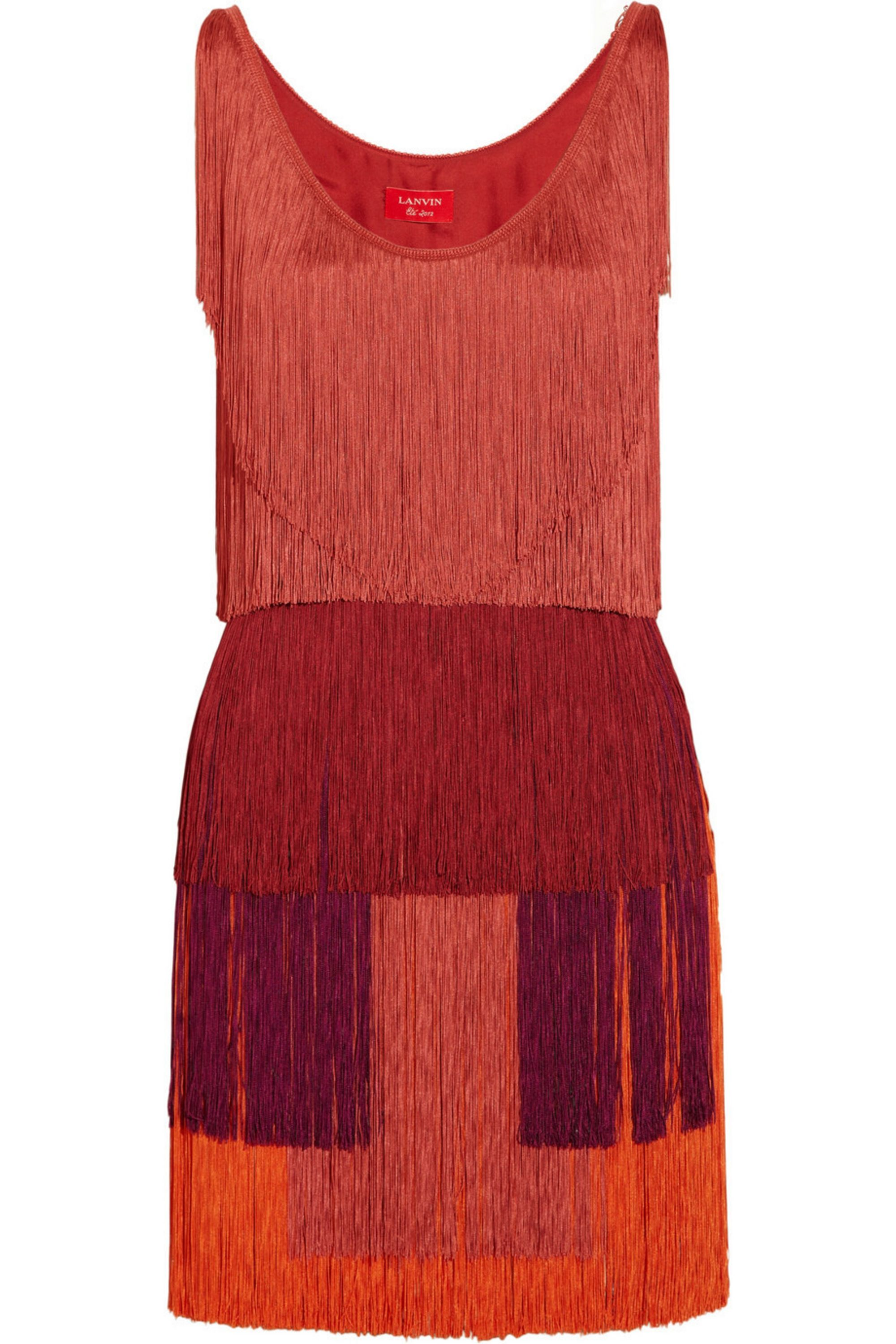 Lanvin Tiered fringed silk-satin dress