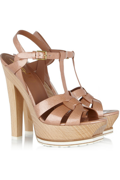 45d4e9e2e52 Yves Saint Laurent. Tribute patent-leather and wood sandals